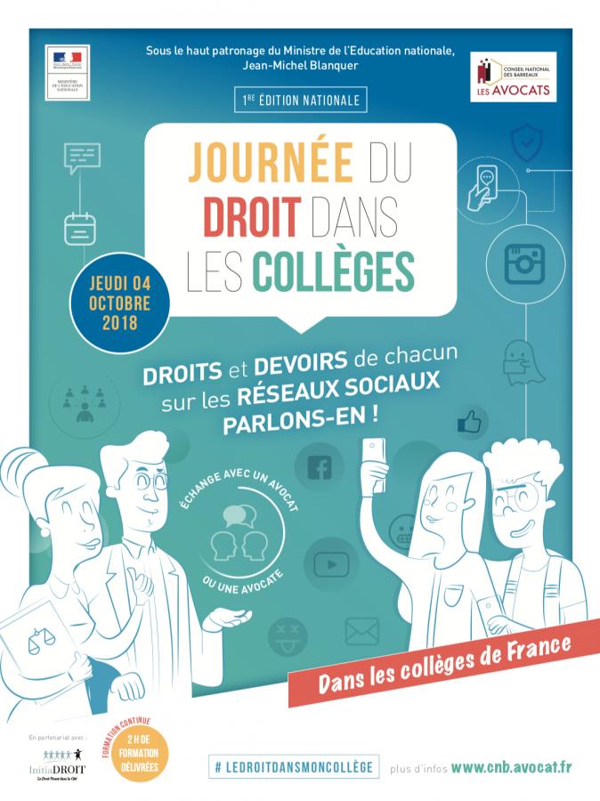 Le thème de cette journée du droit dans les collèges : les réseaux sociaux | Source image : Conseil National des Barreaux